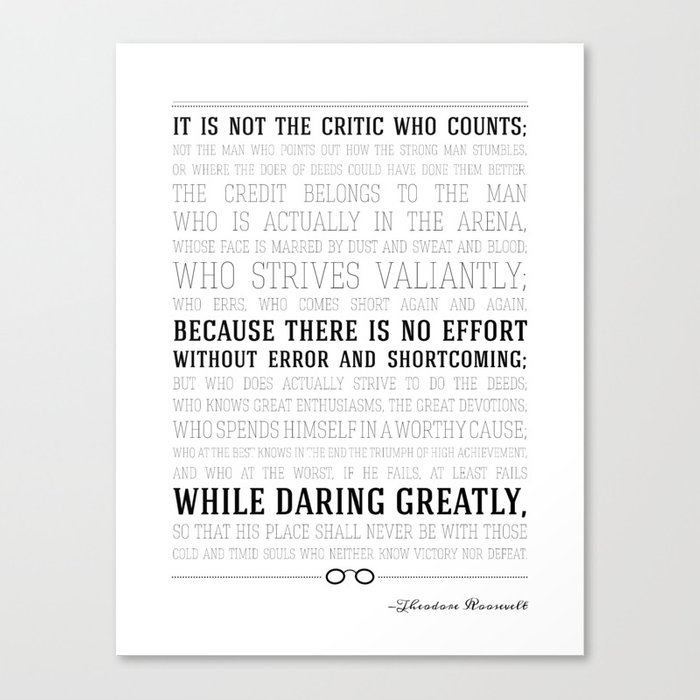 Man in the Arena Teddy Roosevelt Quote Canvas Print