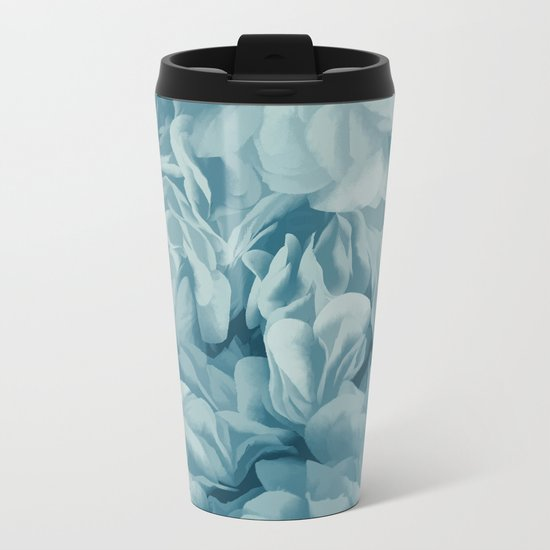 Soft Baby Blue Petal Ruffles Abstract Metal Travel Mug