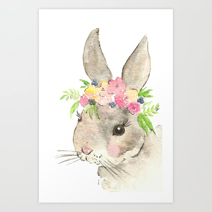 bunny with flower crown watercolor art print by imagodeinurserydecor