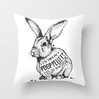 poop Throw Pillows featuring Poop Rabbit by Nat Osorio