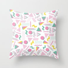 Abstract retro pink teal yellow geometrical 80's pattern Throw Pillow