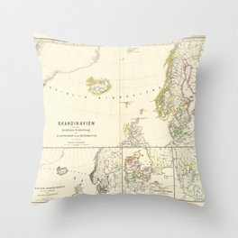 Vintage Map - Spruner-Menke Handatlas (1880) - 65 The Church in Scandanavia Before the Reformation Throw Pillow