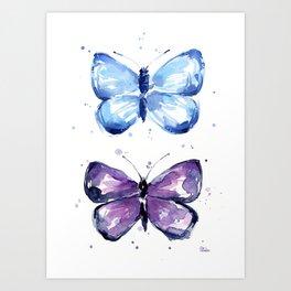 Butterflies Watercolor Blue and Purple Butterfly Art Print