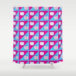 Apples halves pop art pink blue Shower Curtain