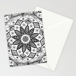 Mandala black white art pattern floral design Stationery Cards