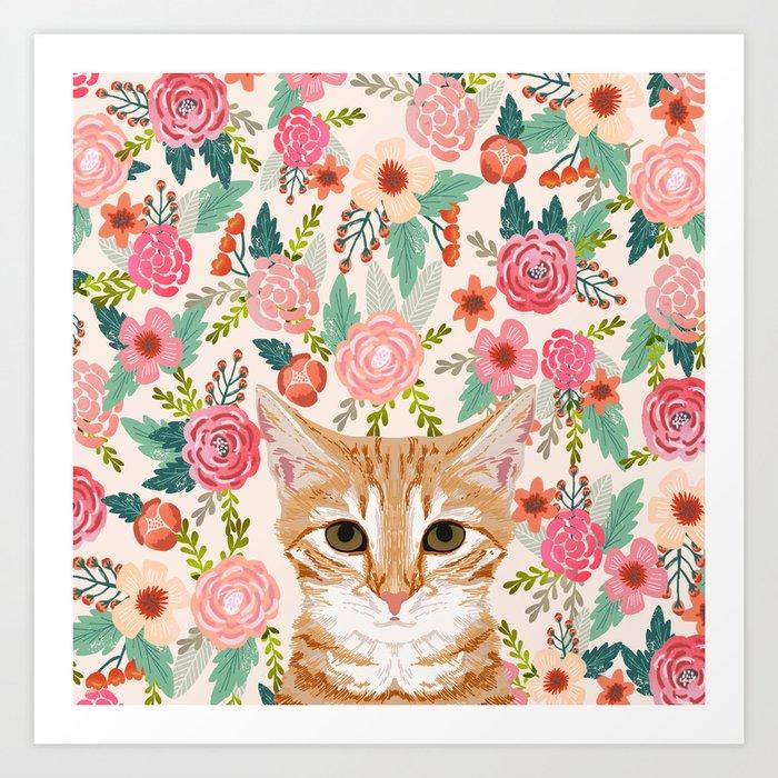 Orange Tabby floral cat head cute pet portrait gifts for orange tabby cat must haves Kunstdrucke