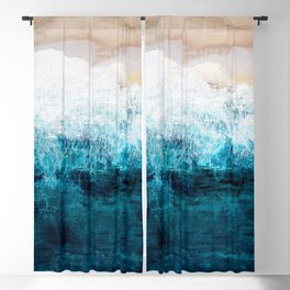 Watercolour Summer beach III Blackout Curtain