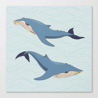 whales Canvas Prints featuring Whales by Evgeniya Ivanova
