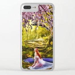 A garota e o tigre se olhando! Clear iPhone Case