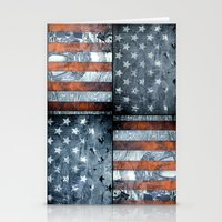 american flag Stationery Cards featuring American flag by Bekim ART