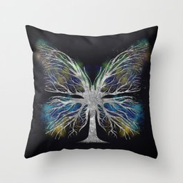 Butterfly Tree - Silver Color Mist Throw Pillow
