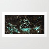 Godzilla vs Kingkong Brown Blue  Art Print
