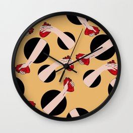 I give you my heart YELLOW #pattern Wall Clock