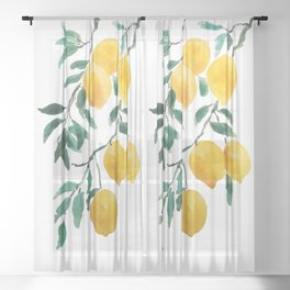 yellow lemon 2018 Sheer Curtain