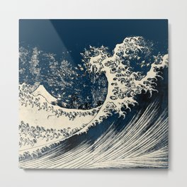 Japanese Waves Blue Metal Print