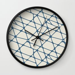 Blue & Linen White Abstract Mosaic Pattern 2 Pairs To 2020 Color of the Year Chinese Porcelain Wall Clock