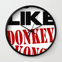 donkey kong Wall Clocks featuring It's On Like Donkey Kong!! by Raunchy Ass Tees
