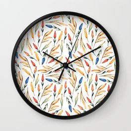 Watercolor seamless pattern with wheat sprouts and colored flowers Wall Clock