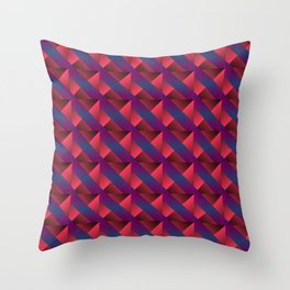 Braid of bright pink squares and triangles in blue. Throw Pillow