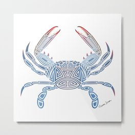 Tribal Blue Crab Metal Print