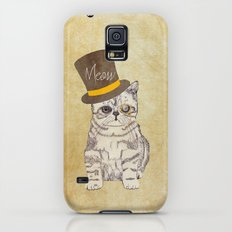 Meow | Funny Cute Kitten Cat Vintage Sketch Monocle and Top Hat Slim Case Galaxy S5