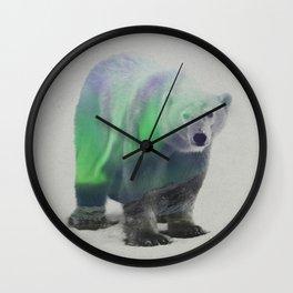Polar Bear In The Aurora Borealis Wall Clock