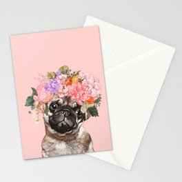 Pug with Flower Crown Stationery Cards