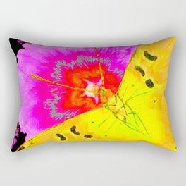 MODERN ART YELLOW BUTTERFLIES & FUCHSIA PINK FLOWERS Rectangular Pillow