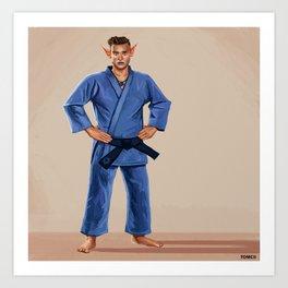 Karate Elf Art Print