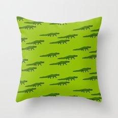 Alligators-Green Throw Pillow