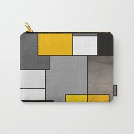 Black Yellow and Gray Geometric Art Carry-All Pouch