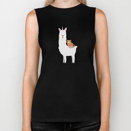 Cat Riding Llamacorn Funny Llama Unicorn Biker Tank