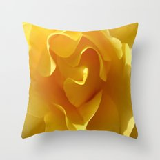 Yellow Rose Ruffles Abstract Throw Pillow
