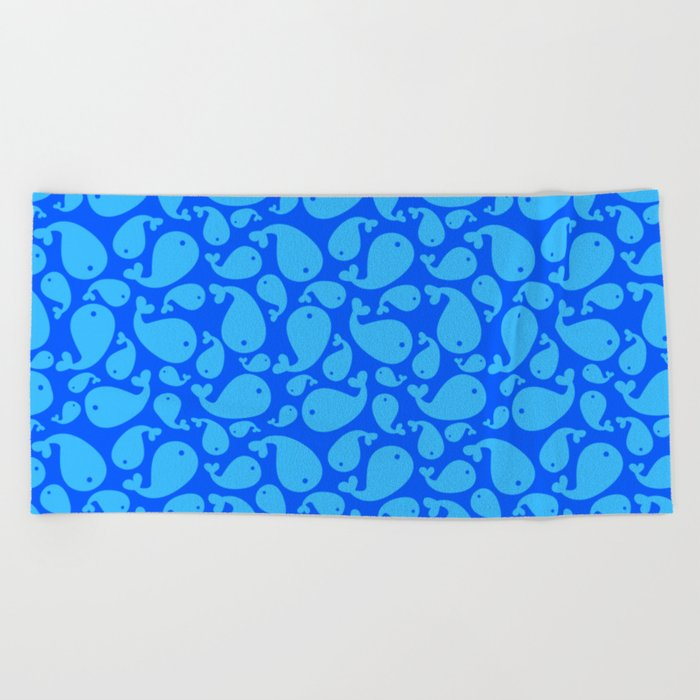 Blue whale pattern Beach Towel