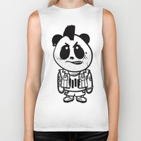 punk rock Biker Tanks featuring Punk Rock Panda  by Team Rapscallion