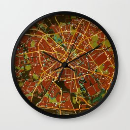 Minsk colorful map Wall Clock