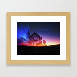 victorian house sunrise Framed Art Print