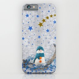 Snowman with sparkly blue stars iPhone Case
