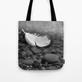 White Feather Floating on Water Tote Bag