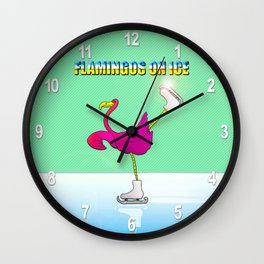 Flamingos on ice Wall Clock