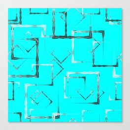 Dark carved squares and gray rhombuses on a sky blue background. Canvas Print