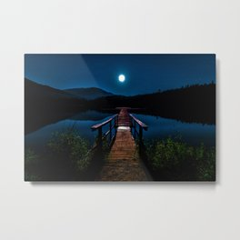 Dock under a Summer Moon and Stars Photographic Landscape Metal Print