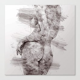 Nude woman pencil drawing Canvas Print
