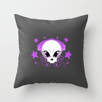pastel goth Throw Pillows featuring Starstruck Pastel Goth by JadedZombieInk