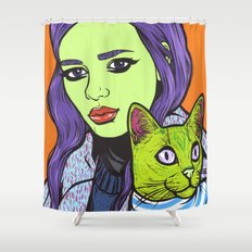 girl with cat Shower Curtain