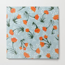tiny orange floral print Metal Print