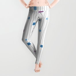 Squares and Vertical Stripes - Cold Colors on White - Hanging Leggings