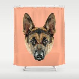 German Shepherd // Peach Shower Curtain