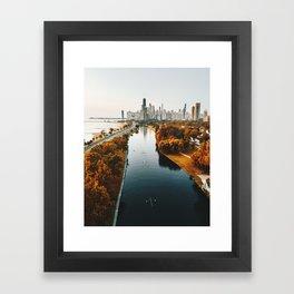 chicago aerial view Framed Art Print