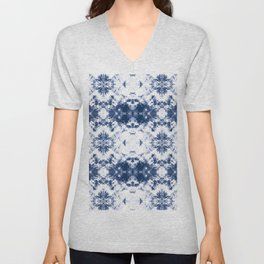 Shibori Tie Dye 3 Indigo Blue Unisex V-Neck